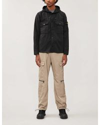 Stone Island Black Drawstring-hood Creased Canvas Overshirt for men