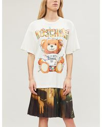 Moschino White Teddy-print Cotton-jersey T-shirt