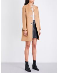Maje - Brown Godiva High-neck Wool And Cashmere-blend Coat - Lyst