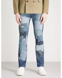 Junya Watanabe Blue X Levi's Patchwork Regular-fit Straight Jeans for men