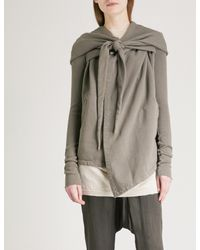 DRKSHDW by Rick Owens Multicolor Pointed-hood Wrap-over Cotton-jersey Hoody