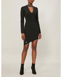Philipp Plein Black Studded Stretch-crepe Dress