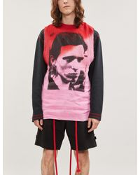 Raf Simons Pink Graphic-print Tie-dye Cotton Top for men