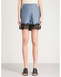 See By Chloé Blue Floral Lace-detail High-rise Stretch-denim Shorts
