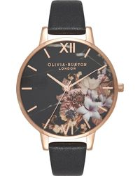Olivia Burton Multicolor Ob16cs01 Marble Floral Rose-gold And Leather Watch