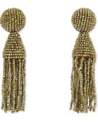 Oscar de la Renta - Metallic Classic Beaded Tassel Clip-on Earrings - Lyst
