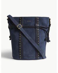 Claudie Pierlot Blue Amarillo Suede Bucket Bag