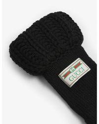 Gucci Black Logo Patch Wool Gloves