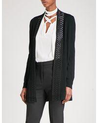 Sandro - Black Open-work-panel Wool-blend Cardigan - Lyst