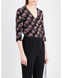 Claudie Pierlot Black Janelle Floral Crepe Jumpsuit