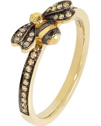 Annoushka - 18ct Yellow Gold And Diamond Bee Ring - Lyst