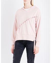 Izzue Pink Velvet Lace-up Jersey Hoody