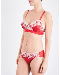 Wacoal Red Lace Affair Lace And Satin Bra