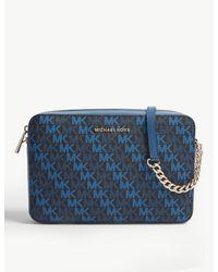 MICHAEL Michael Kors Blue Monogram-print Canvas Cross-body Bag