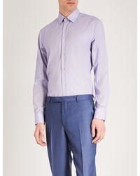 Paul Smith Blue Bengal Striped Slim-fit Cotton Shirt for men