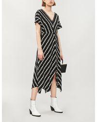 Maje Black Ritta Daisy Print Crepe Dress