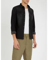 Replay Black Faded Stretch-denim Shirt for men