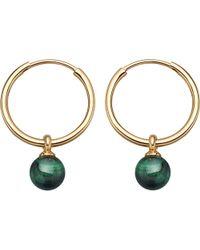 Astley Clarke - Metallic Vera Yellow-gold Vermeil & Malachite Drop Hoop Earrings - Lyst