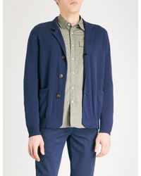 Brunello Cucinelli - Blue Funnel-neck Waffle-knit Cotton Cardigan for Men - Lyst