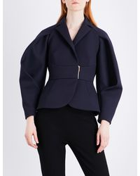 Delpozo - Blue Rounded-sleeve Woven Jacket - Lyst