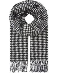 Sandro - Black Houndstooth Printed Wool Scarf for Men - Lyst