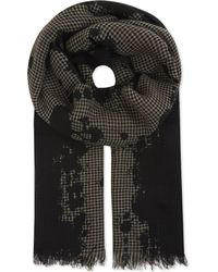 The Kooples - Black Houndstooth Wool-blend Scarf - Lyst