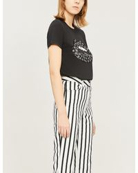 Markus Lupfer Black Kate Lara Lip Sequin Star-embellished Cotton-jersey T-shirt