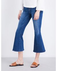 FRAME - Blue Le Crop Bell Flared High-rise Jeans - Lyst