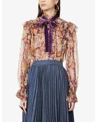 Zimmermann Multicolor Ladybeetle Floral-print Silk-blend Blouse