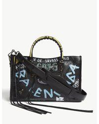 Balenciaga Ladies Black And Blue City Graffiti Print Leather Shoulder Bag