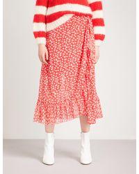 Ganni Red Tilden High-rise Mesh Wrap Skirt