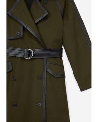 The Kooples Green Leather-trim Cotton Trench Coat