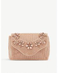 Dune Multicolor Rose Gold Floral Ekko Beaded Clutch Bag