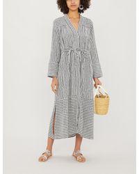 Tigerlily Gray Zari Striped Cotton-blend Jacket