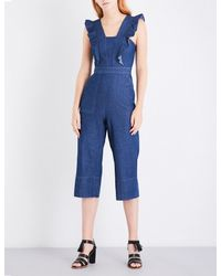 Whistles Blue Sigrid Ruffle Chambray Jumpsuit