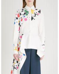 Oscar de la Renta White Paint-splattered Cotton-blend Shirt