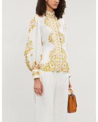 Zimmermann Multicolor Super Eight Floral-print High-neck Ramie Shirt