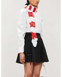 Prada Black Flared High-waist Cotton Mini Skirt