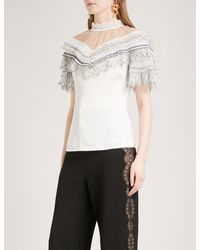 Self-Portrait - White Lace-trimmed Satin Top - Lyst