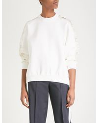 Givenchy White Lace-panel Wool-blend Jumper
