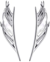 Shaun Leane - Metallic White Feather Silver And Mother-of-pearl Earrings - Lyst