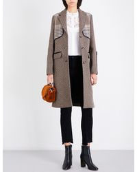 Maje Gray Galilee Houndstooth Wool-blend Coat