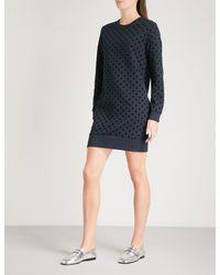 Whistles Black Flocked Polka-dot Cotton-jersey Sweater Dress