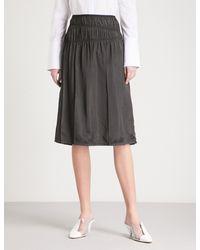 Helmut Lang Black Ruched High-rise Satin Skirt