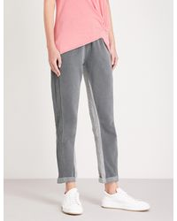 Stateside Gray Contrast-panel Straight Mid-rise Cotton-jersey Trousers