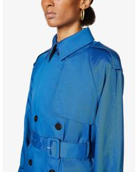 Theory Blue Density Twill And Shell-down Trench Coat