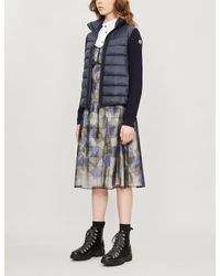 Moncler Blue Lined Padded Shell And Wool Jacket