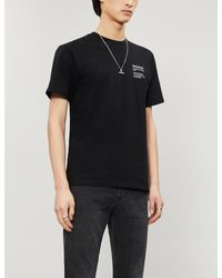 The Kooples Black Graphic-print Cotton-jersey T-shirt for men