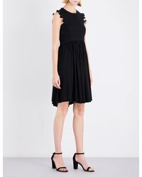 Whistles Black Crochet Lace Jersey Dress