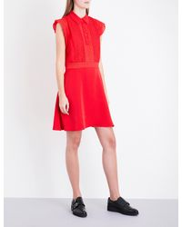 The Kooples Sport Red Polo Frilled Sleeveless Crepe Dress